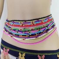 bohemia double strand beach belly chain for women elastic body chain jewelry african waist beads waist chain