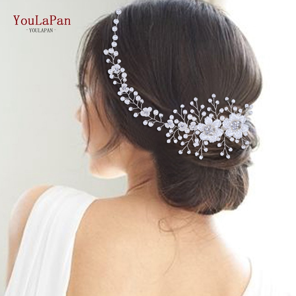 YouLaPan HP295 Flower Headwear Wedding Headband for Bride Crystal Pearls Women Tiara Bridal Headpieces Hair Jewelry Accessories