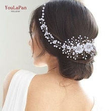 YouLaPan-Diadema con perlas de cristal para mujer, tocado de flores, tocado de novia, accesorios de joyería para el cabello, HP295