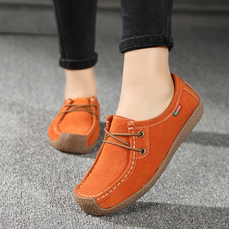 Fashion Woman Casual Shoes Solid Lace-up Loafers Women Flats Comfortable Footwear Woman Shoes Breath