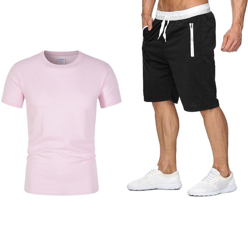 Новинка лета 2021, популярный мужской комплект из футболки и спортивных шорт, модный костюм на заказ, спортивный комплект для бега с высоким п...
