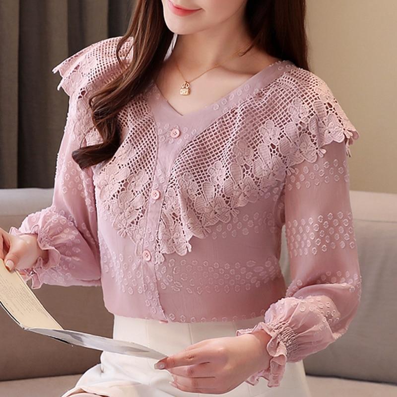 Blusas de moda para mujer 2020, Blusa de encaje rosa con cuello en V y volantes, Blusa de manga larga acampanada para mujer, tops y blusas para mujer C486