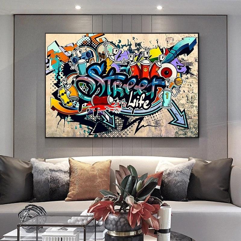 Граффити искусство уличная жизнь холст живопись плакаты и принты Куадрос гостиная домашний декор декоративное настенное искусство