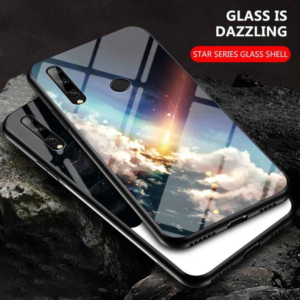 Para Lenovo Z6 Pro Lite Z5s, patrón de moda de varias nubes, estrellas pintadas, carcasa delgada, funda de vidrio templado para teléfono, cubierta trasera a prueba de golpes