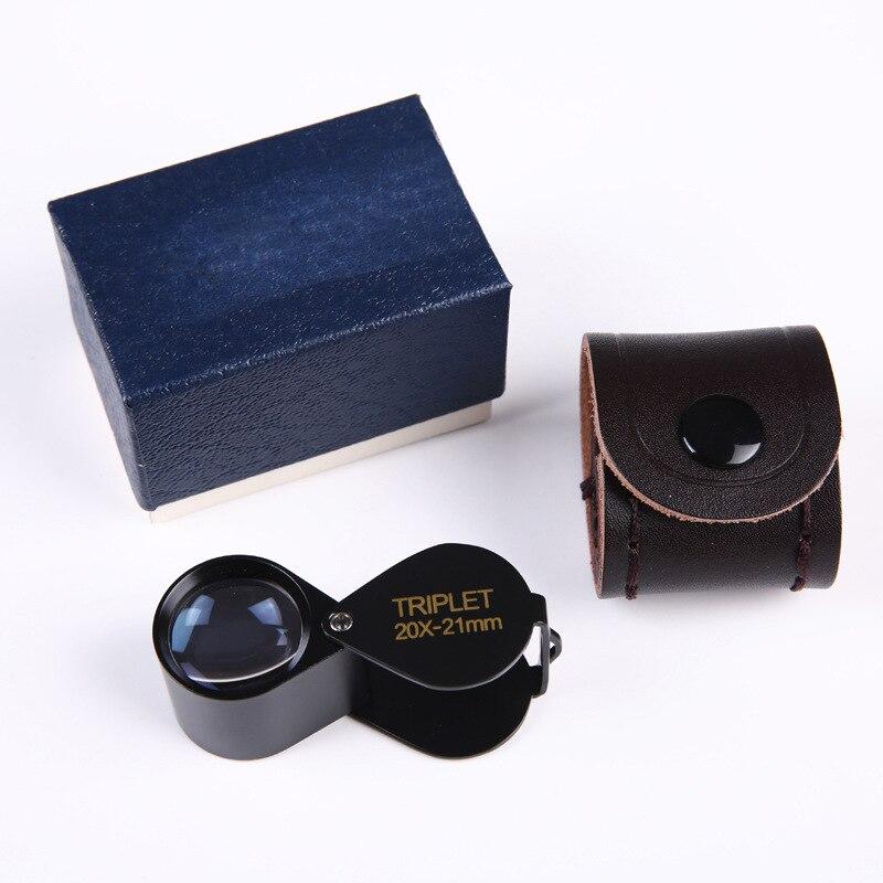 Portátil Handheld Óptico Mini Metal Dobrável 20 Vezes Jóias Lupa Identificação Diamante Jade Antigo Carimbo Moeda