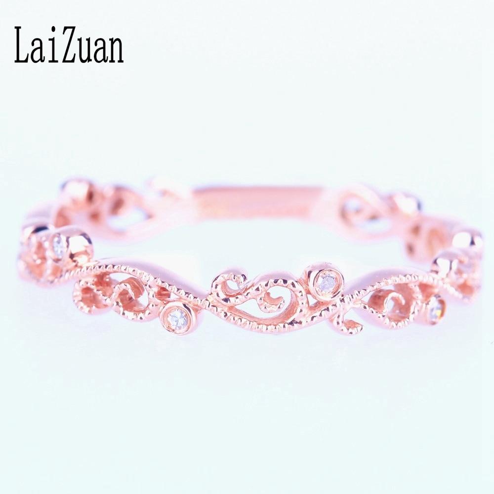 Juego de engaste de oro rosa sólido de 14K 100% anillo de diamante Natural genuino anillo de boda de compromiso estilo antiguo de Milgrain para mujer