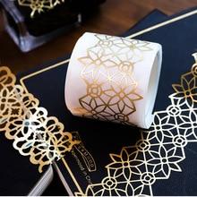 1 Pcs Retro Gouden Hol Serie Kant Washi Masking Tape Release Papier Stickers Scrapbooking Label Briefpapier Decoratieve Tape