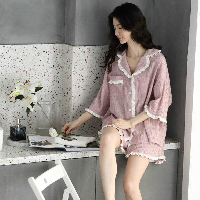 Pijamas de seda QWEEK para mujer, Pijamas de volantes, pijama linda de verano, ropa de dormir real, ropa de hogar Casual para mujer, 2 piezas, conjunto Pj 2020