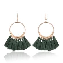 Bohemian Handmade Cotton Tassel Earrings for Women Long Big Ethnic Fringed Drop Earrings Hanging Dangling Womens Jewelry 2017