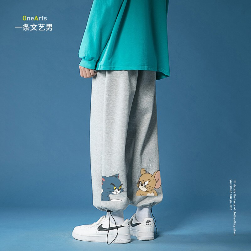 Summer Sweatpants Men's Thin Pants Trendy Brand Ins Trendy Drawstring Cat and Mouse Ankle Banded Slacks