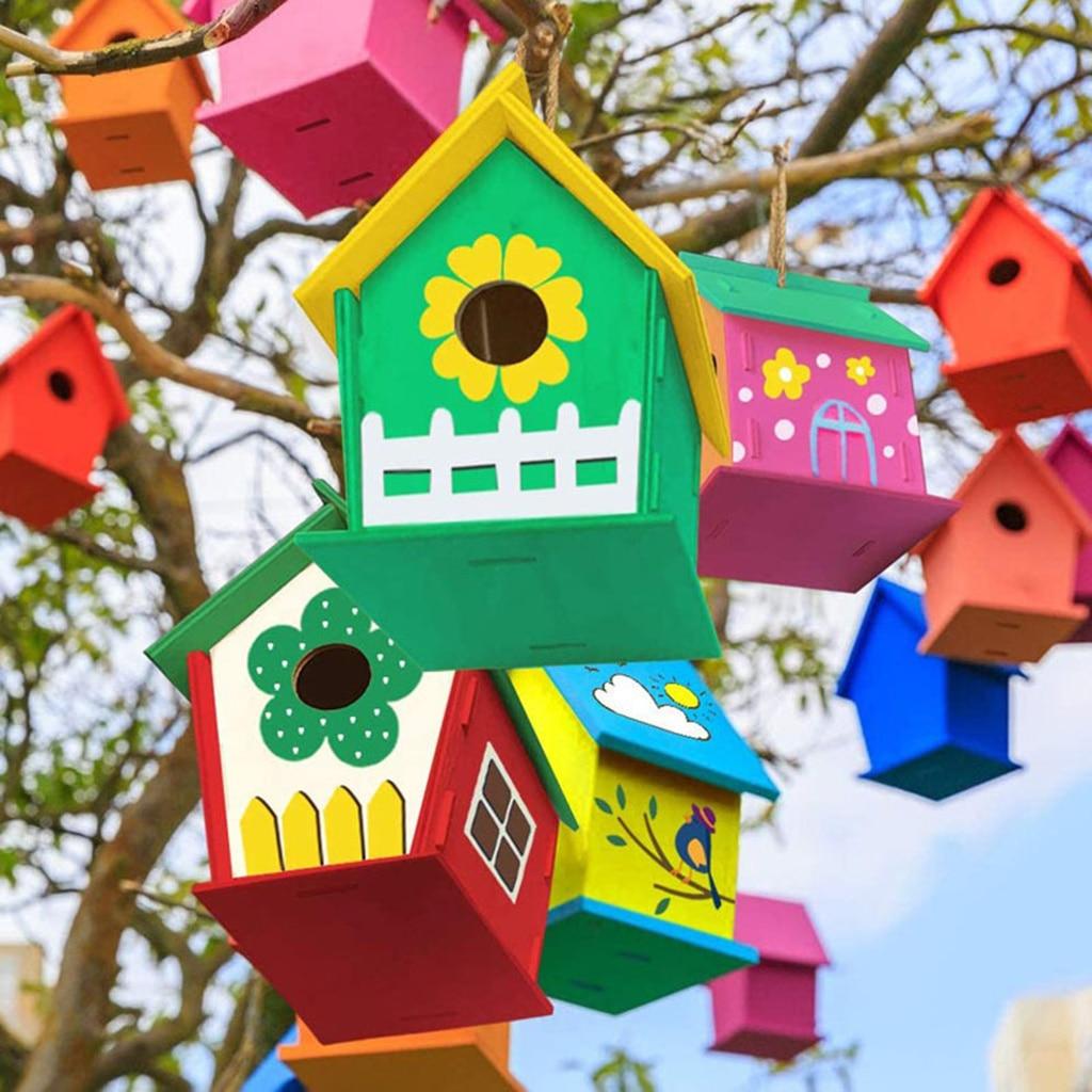 «Сделай сам» птичий домик «Эд», сборная краска, граффити, Подвесной деревянный домик, Набор для творчества, малыши, девочка, мальчик, искусст...