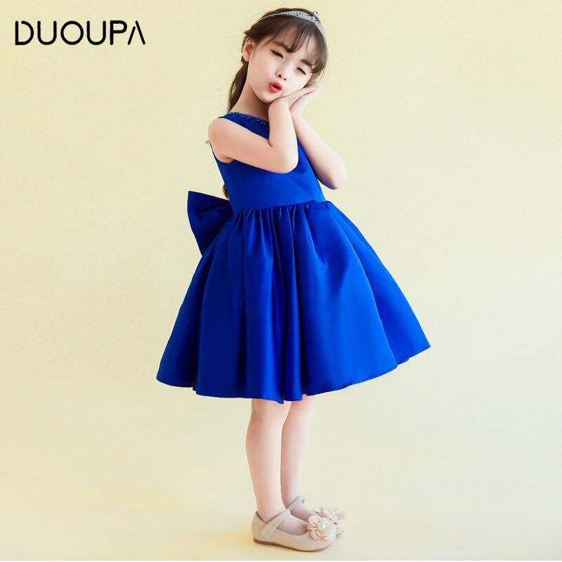 2019 Summer New Childrens Dress Fashion Princess Dress Girl Dress Royal Blue Pettiskirt Holiday Party Dress Stage Costume Girl