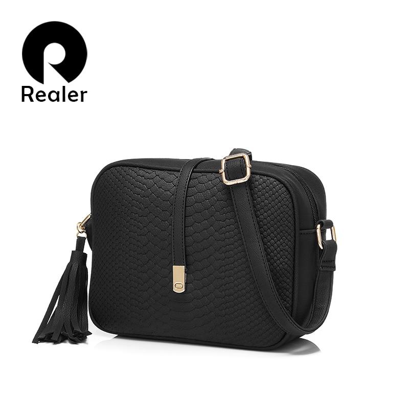 REALER Women's bag small shoulder bag for women messenger bags ladies retro PU leather handbag purse female crossbody bag