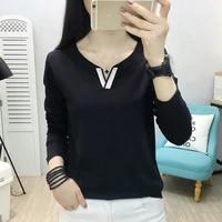 t shirt women slim v neck tee shirt femme solid top mujer spring autumn cotton long sleeve camisetas de mujer korean style 2021