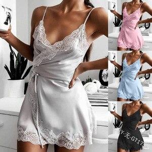 Women Summer Nightgown Sleeping Dress Female Solid Lace Trim V-neck Sleepshirt Ladies Suspender Sleepwear