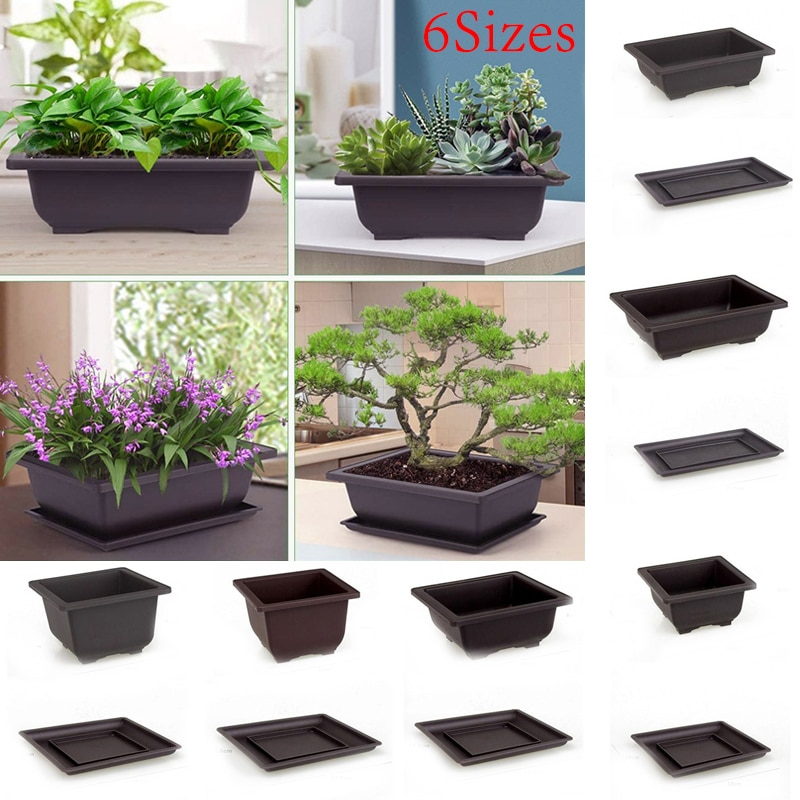 1pcs antique rectangular plastic flower pot imitation purple sand dark brown succulent small potted small bonsai with tray