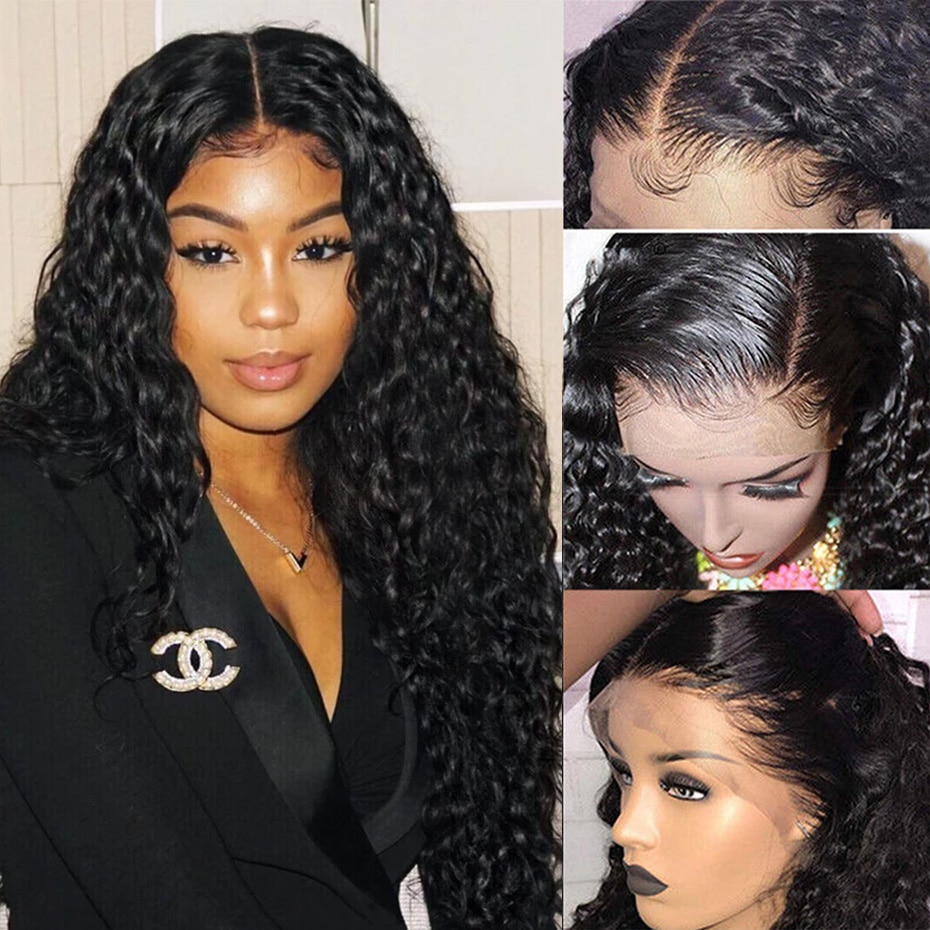 Ably Brasilianische Wasser Welle Perücke Pre gezupft Haaransatz 13x4 Spitze Front Menschenhaar Perücken Für Frauen 8-26 zoll Remy Spitze Front Perücke 150%