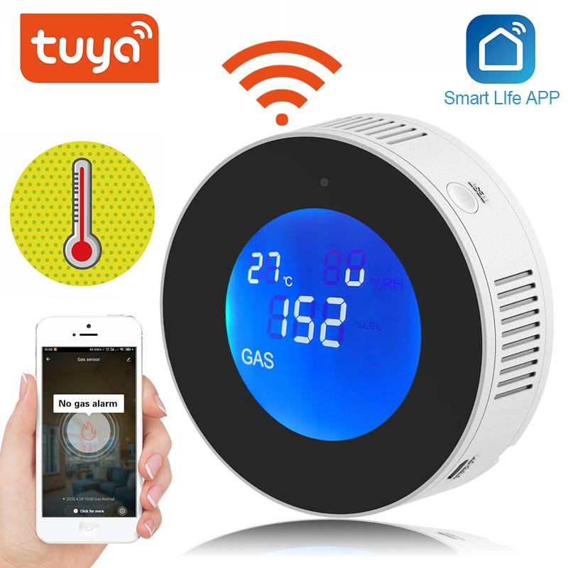 كاشف تسرب الغاز الذكي Tuya ، wi-fi ، شاشة LCD ، مستشعر الأمان مع وظيفة الكشف عن درجة الحرارة ، أتمتة المنزل الذكي