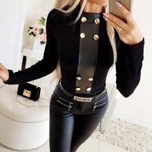 Camiseta de cuello alto para mujer, camisetas negras con botones Punk, camisetas tejidas y ajustadas para mujer, Casual, de otoño sólido, camisetas D30