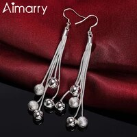 aimarry 925 sterling silver five line smooth frosted bead earrings for women charm party christmas gifts wedding fashion jewelry