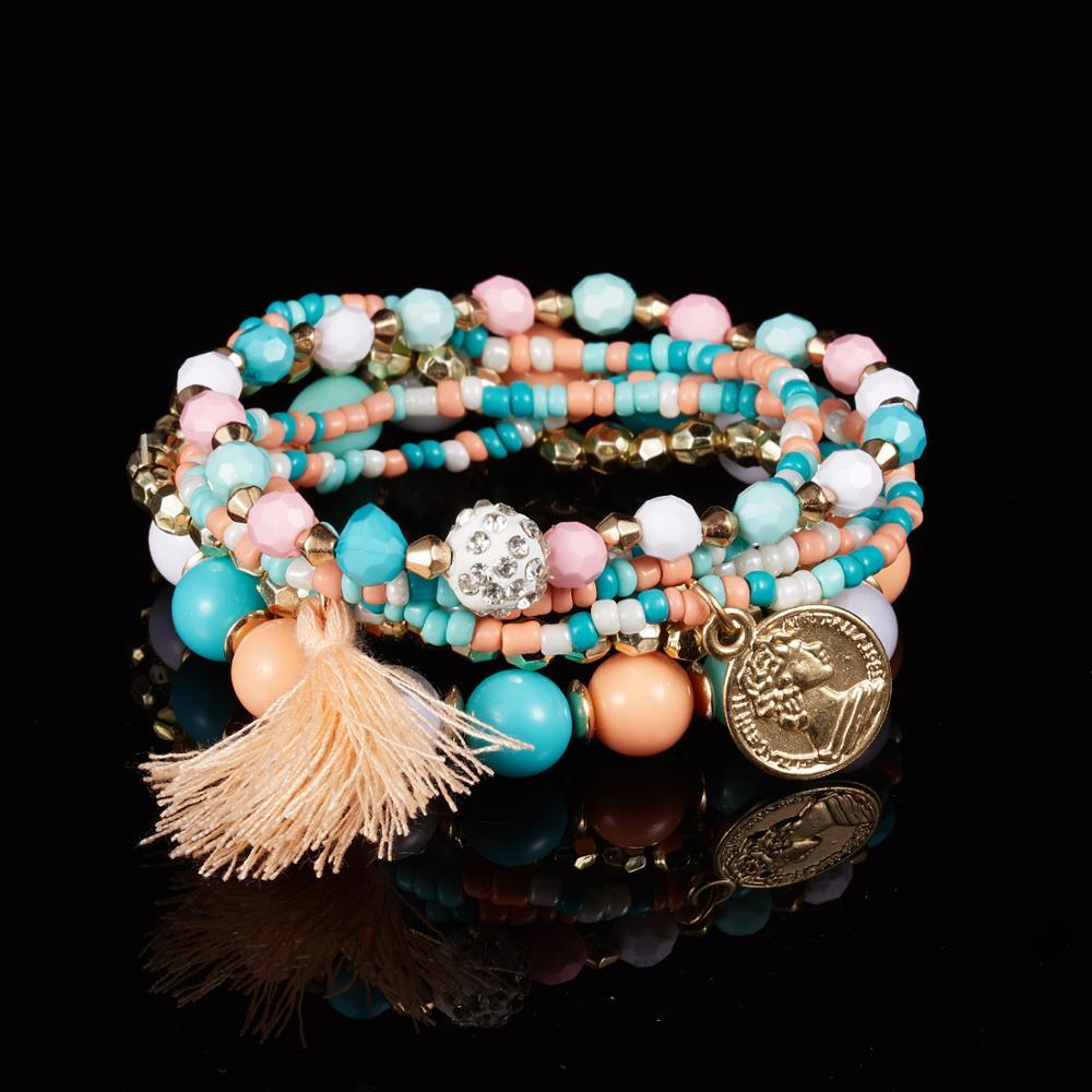 Женский многослойный браслет с бусинами, модный браслет с кисточками, 6 шт./компл.