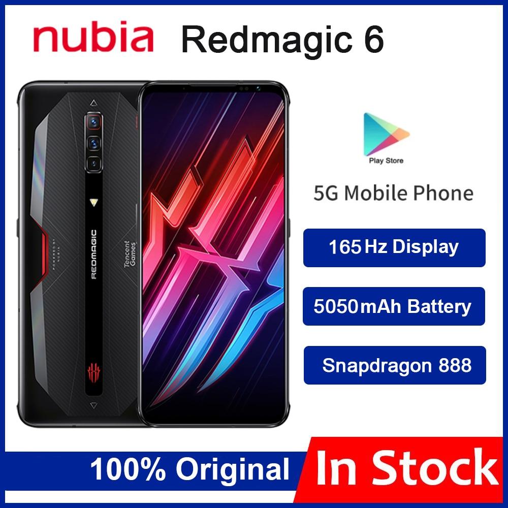 Глобальная версия Nubia рамка RedMagic 6 игровой смартфон 6,8 дюйм 165 Гц активно-матричные осид, Snapdragon 888 Octa Core 30 Вт Быстрая зарядка красный Magic 6