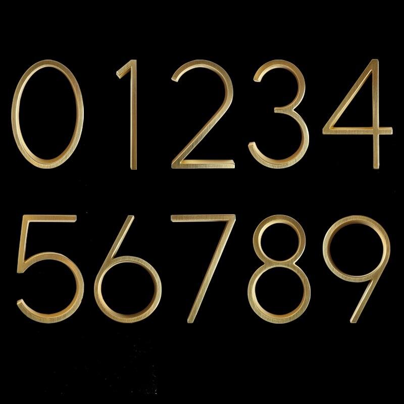Купить с кэшбэком 12cm Floating Modern House Number Golden Satin Brass  Door Home Address Numbers for House Outdoor Sign Plates 5 Inch. #0-9