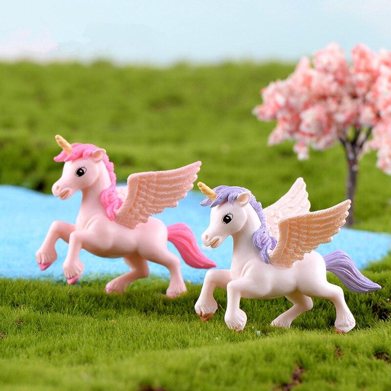 2 pçs/set micro paisagem elf unicórnio estatuetas pegasus cavalo estátua modelo animal fada jardim miniaturas ornamentos artesanato