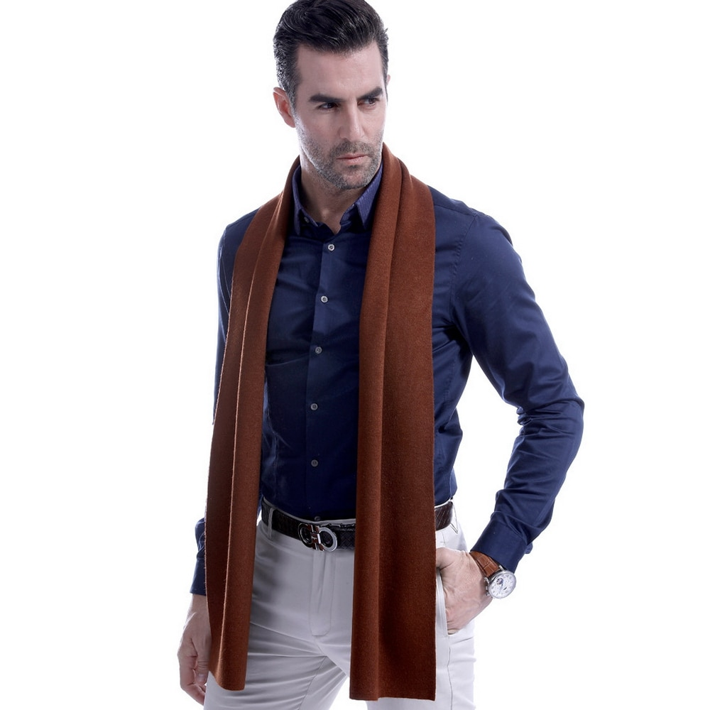 Fashion Korean business leisure Pure wool Scarf men solid color Grey dark blue red black neck Scarves for father