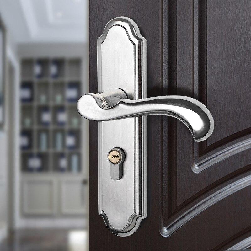 مقبض الباب الداخلي من الفولاذ المقاوم للصدأ ، ذراع الباب ، قفل أوروبي صامت لغرفة النوم