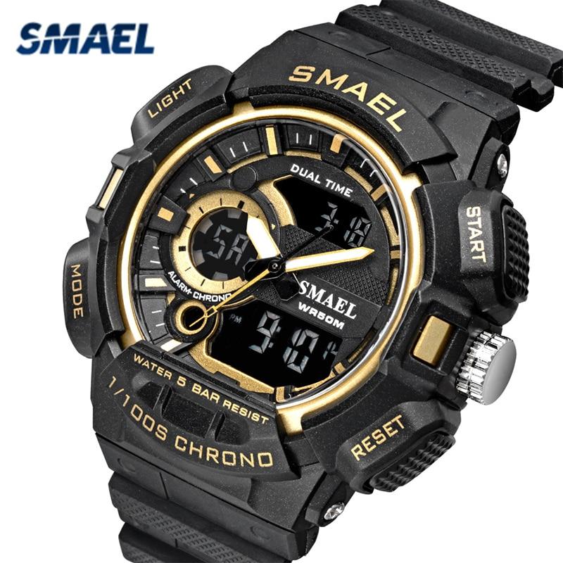 SMAEL Military Watch Life Waterproof Sports Watches Men's Led Digital Quartz Wristwatches Top Brand Luxury Clock Heren Horloge