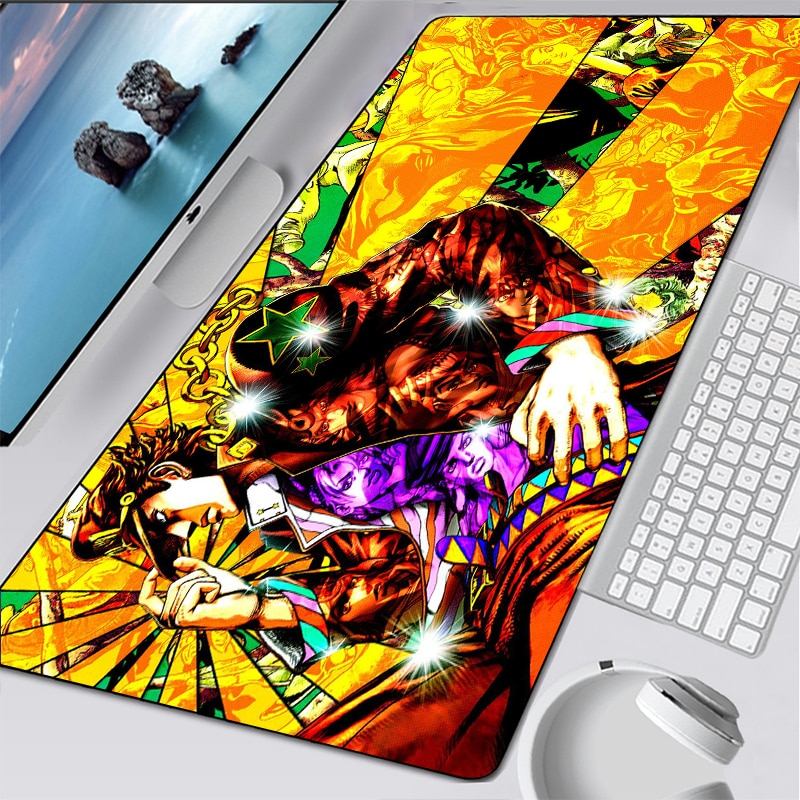 Almofada de Borracha Anime Jojo Aventura Bizarra Gaming Mouse Pad Manga Computador Portátil Grande Legal Mesa Tapete Teclado Presente