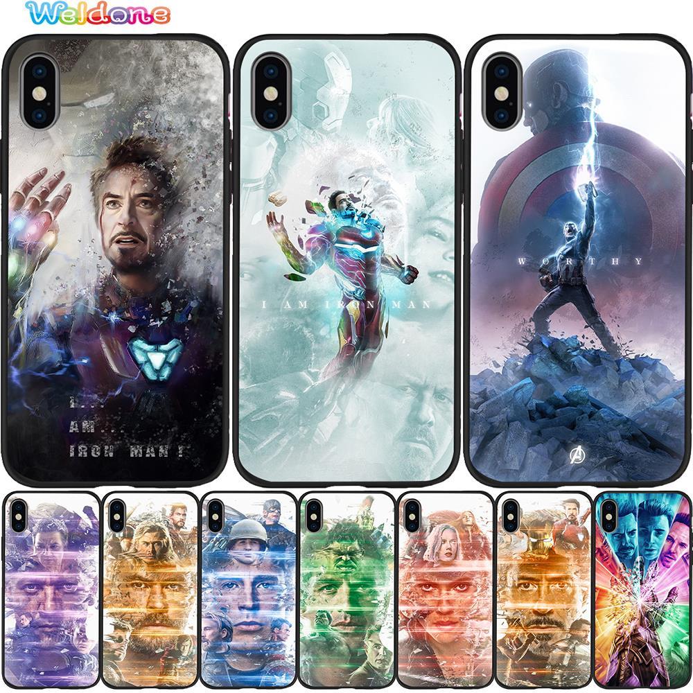 Capa de celular avengers da marvel, capinha preta para iphone 11 pro max xs max xr x 8 7 6s capa para avengers plus 5S