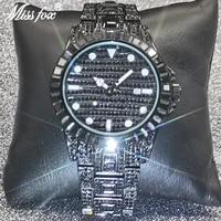 missfox luxury men watches top brand hip hop aaa diamond quartz wristwatch punk fashion full black auto date clocks couples gift