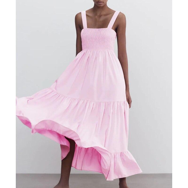 Vestidos sin tirantes para mujer de vestido elegante color rosa liso sin...