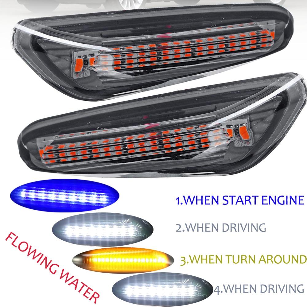 2Pcs Smoke LED Side Marker Light Flowing Water Indicator Turn Signal Lights For BMW E90 E91 E92 E93 E60 E87 E82 E46