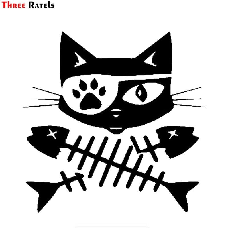 Três ratels FTZ-172 #15x14.5cm pirata gato peixe crossbones vinil decalque adesivo carros caminhões vans suvs janelas paredes copos laptops
