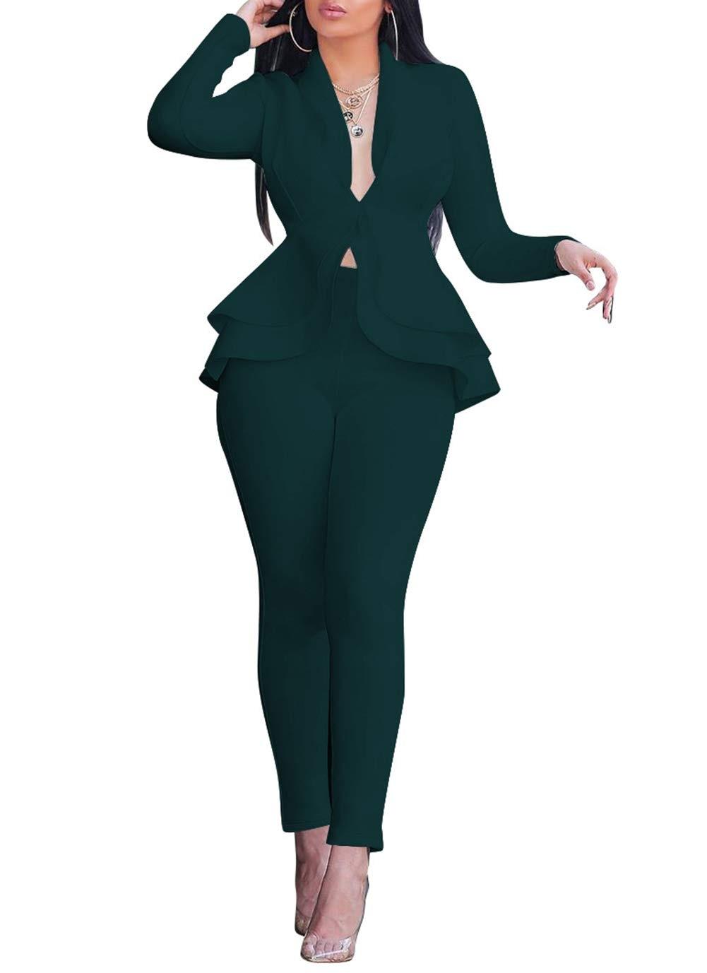Salimdy مثير 2 قطعة ملابس للنساء طويلة الأكمام الصلبة السترة مع السراويل مجموعات عادية أنيقة بدلة عمل