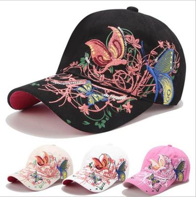 Модная бейсболка с цветочной бабочкой, Женская хлопковая бейсболка с вышивкой, Кепка с косточками, женская летняя повседневная бейсболка в ...