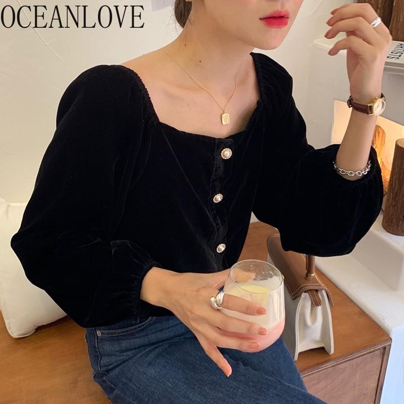 OCEANLOVE Square Neck Solid Frauen Blusen und Tops Tasten Puff Hülse Velours Blusas Herbst 2021 Koreanische Shirts Neue 18331