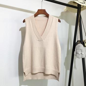 Col en v tricoté gilet femmes pull automne et hiver nouveau coréen lâche sauvage pull gilet sans manches pull