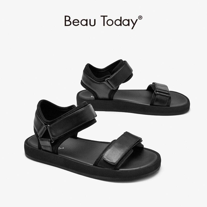 BeauToday صندل كاجوال المرأة جلد الغنم الحقيقي مرونة النسيج أحذية منصة هوك حلقة السيدات الشقق اليدوية 38176