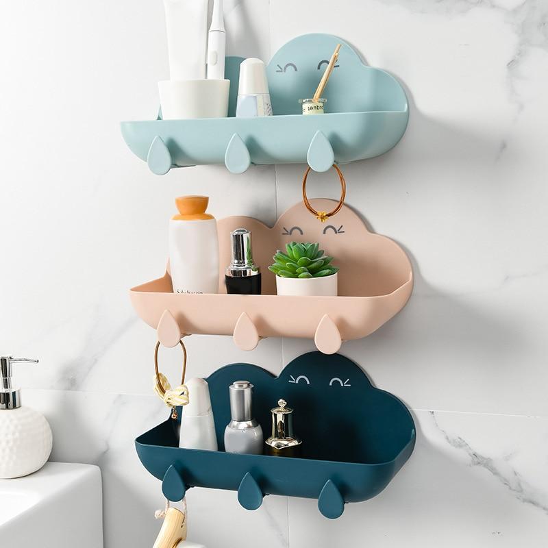 Многофункциональные стеллажи, стеллажи для хранения, настенные стеллажи для ванной комнаты, облачные стеллажи без отверстий, простота наст...