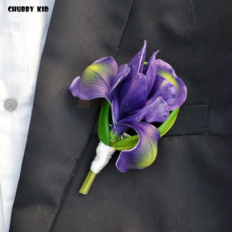 ¡5 uds! Venta al por mayor de alta simulación artificial de PU flor-de-luce corage de los padrinos de boda falso flor-de-lys broche botón iris