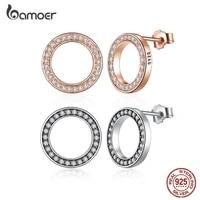 bamoer 100 925 sterling silver round fashion stud earrings for women shiny luxury zircon summer elegant wedding jewelry gos437