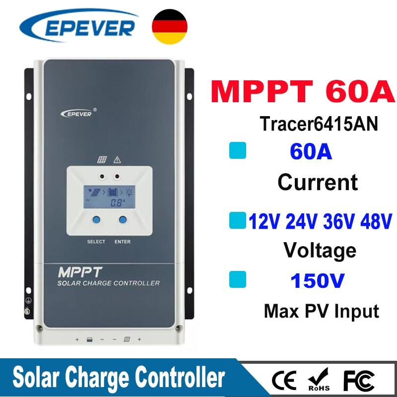 EPever MPPT 60A Solar Charge Controller 12V 24V 36V 48V Backlight LCD For Max 150V PV Input Real Time Recording 6415AN