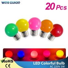 20pcs Led Bulb 3W  E27 Lamp Colorful Lampada Ampoule Led RGB Light SMD 2835 Flashlight  Home Decor light AC 220V  Globe Bulbs