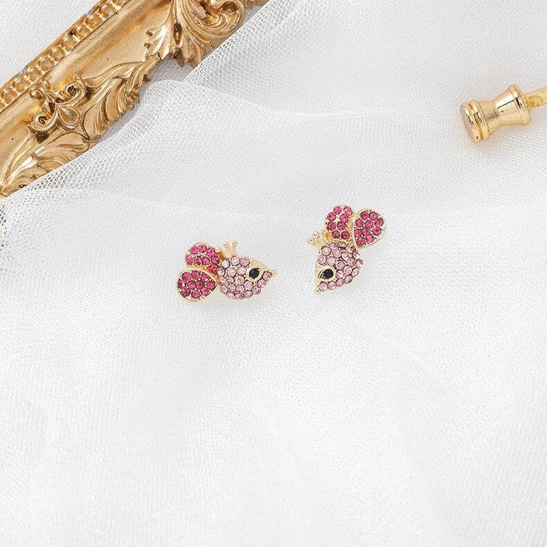 Pendientes para niñas, de plata de 925, estilo coreano, bonitos y bonitos, hechos a mano con diamantes de ratón en la oreja, diamantes de imitación, pendientes del zodíaco chino elegantes para niñas