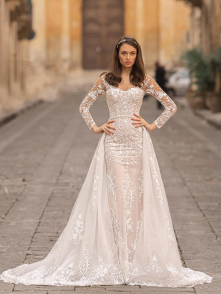 Review Detachable Train Elegant Wedding Dress Lace Applique And Long Sleeve Beaded Waist Long Sleeve Mermaid  Gowns Customization