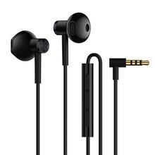 Xiaomi 3.5mm Universal Half In-Ear Earphone Hybrid DC Dual Driver L-Shape Plug MEMS Microphone Wired Control Headset for xiaomi